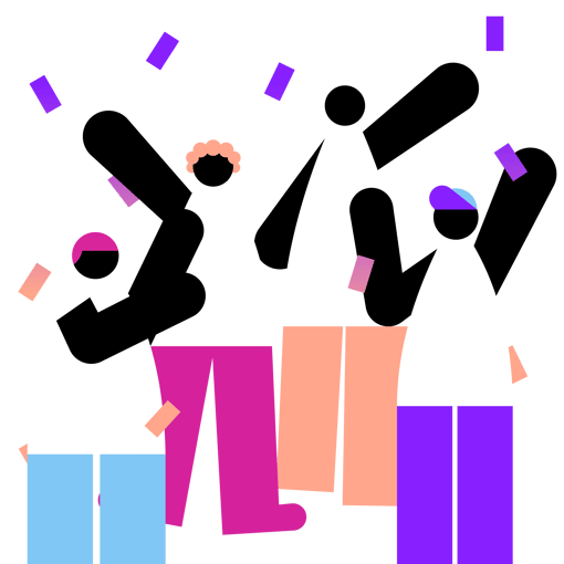 Illustration of people with confetti falling on them.