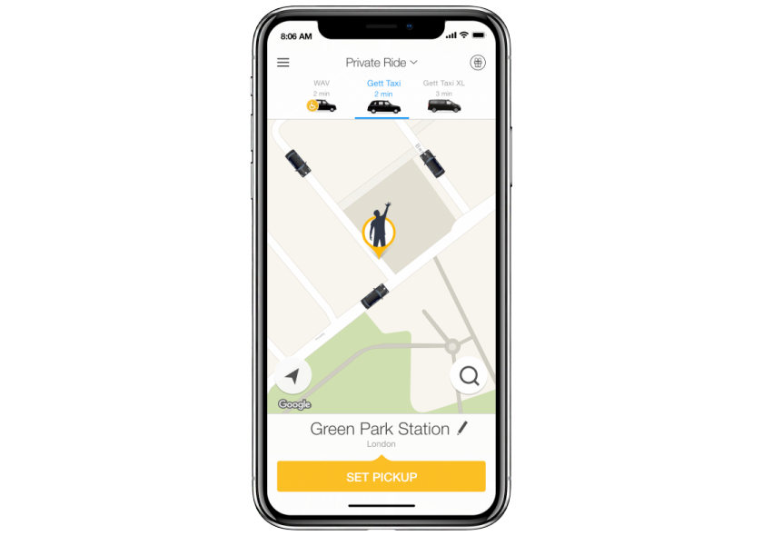Screen shot on iPhoneX of Gett open app