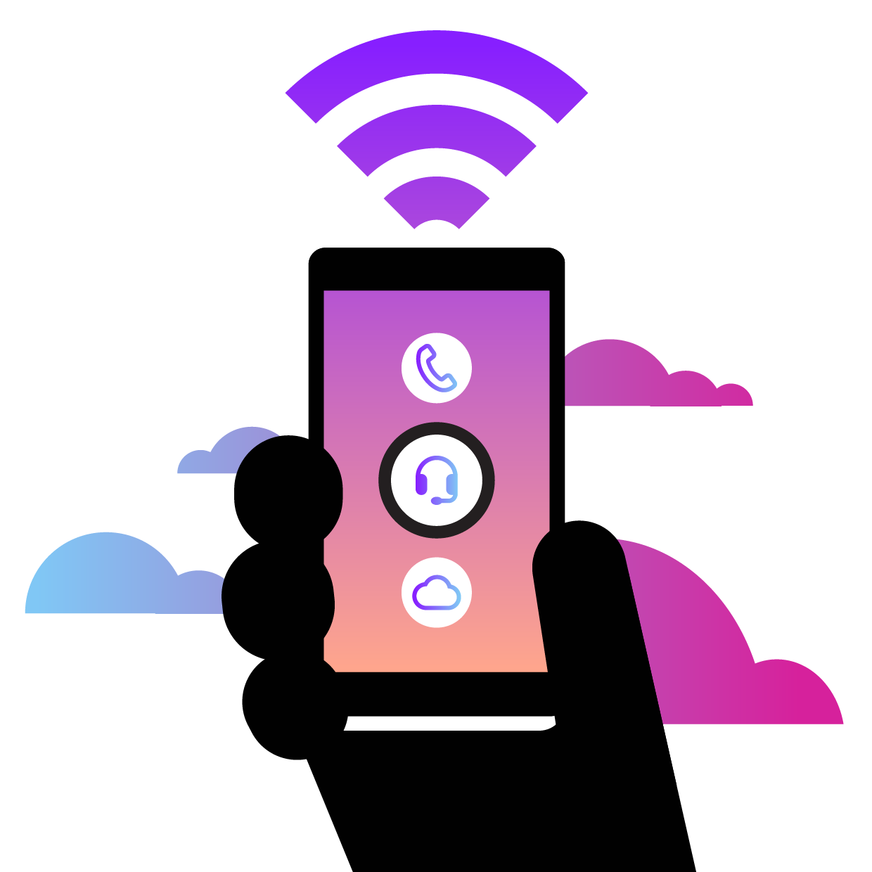 illustration of person holding smartphone, with three icons on it